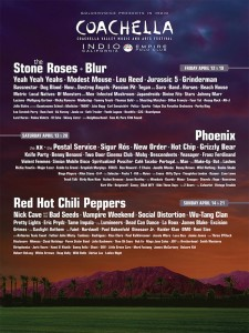 Coachella 2013 Lineup Blur Stone Roses Phoenix Red Hot Chili Peppers