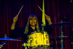 Miriam takes a turn on the drums