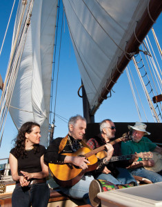 Lucy Kaplansky, David Amram, Raffi and Pete Seeger on the Hudson River Sloop Clearwater. Photo: Econosmith.com