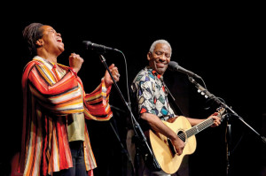 Kim and Reggie Harris performing during their residency at The Swannanoa Gathering at Warren Wilson College, 2012. Photo by R.L. Geyer