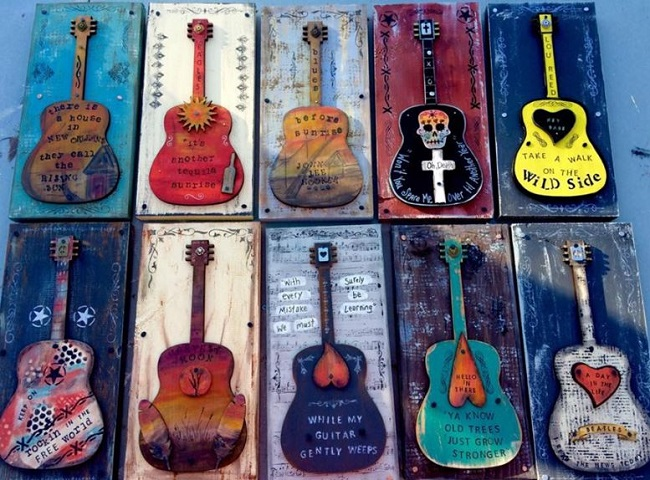 Tonia Sellers, Clever Clogs Art, Groovy Guitar Plaques,