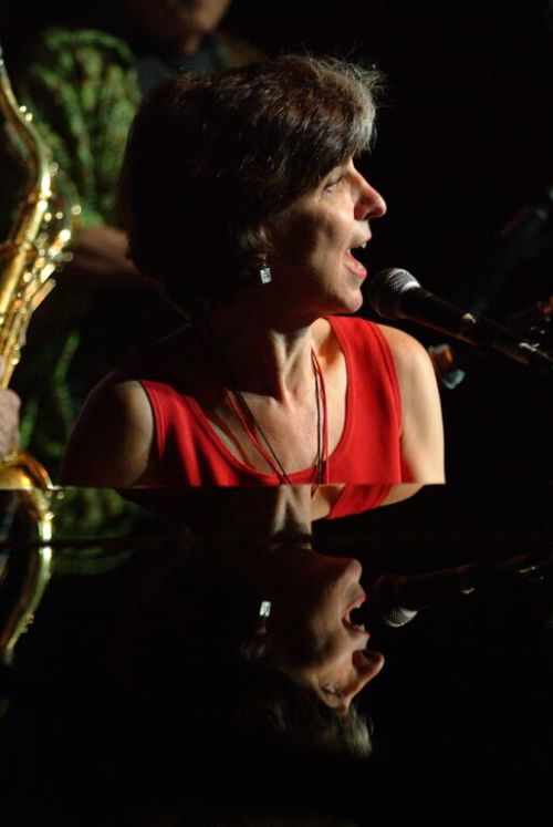 Louisiana-raised blues singer Marcia Ball at the piano in 2004.