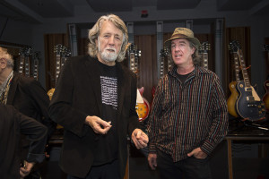 John McEuen (L) and Andy Goessling (R) photographed at the Gibson Guitar Showroom in New York City on May 17, 2016.