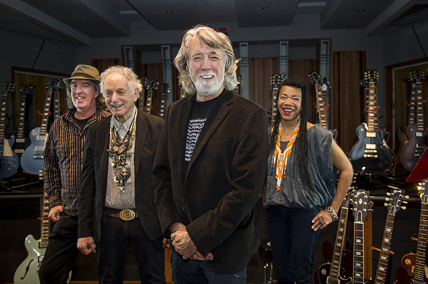 (L-R) Andy Goessling, David Amram, John McEuen and Martha Redbone photographed at the Gibson Guitar Showroom in New York City on May 17, 2016.