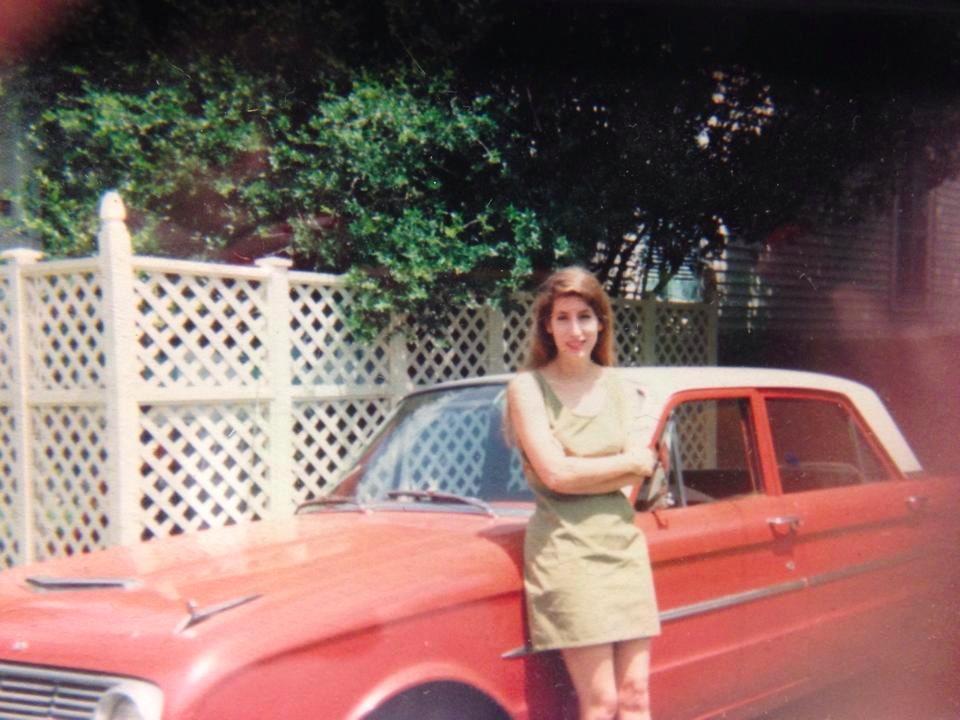 A girl and her car outside the Black Top offices, circa 1995