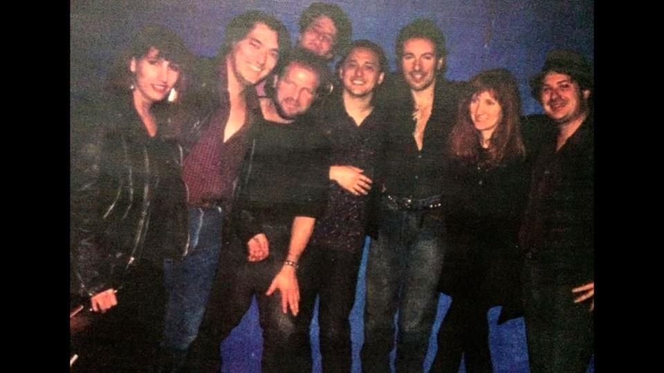 West, the Boss (third from right) and Patti Scialfa (second from right) and Loose Diamonds at Tipitinas circa 1991